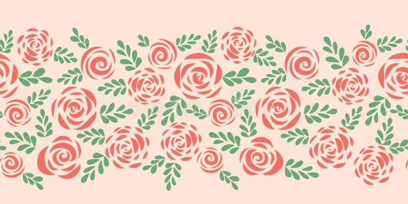 Граница вектора современных абстрактных плоских роз безшовная иллюстрация вектора
