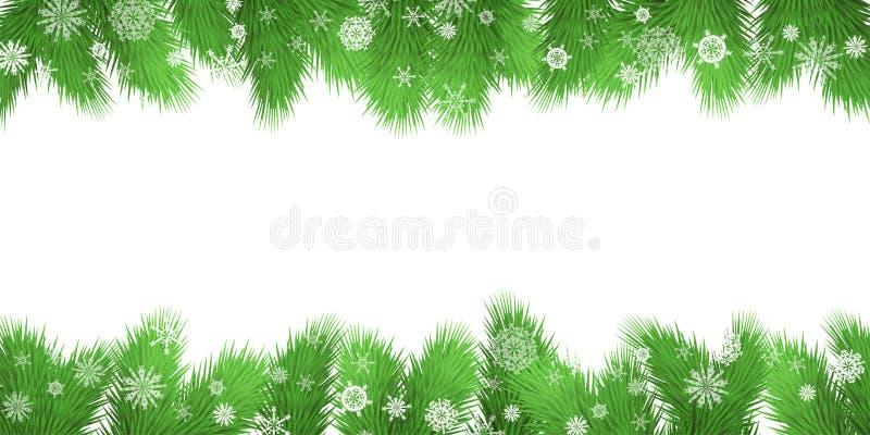 Граница ветвей рождественской елки также вектор иллюстрации притяжки corel иллюстрация вектора