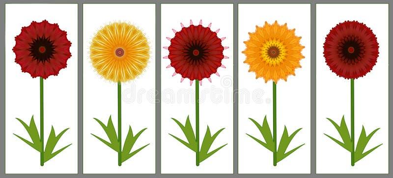 Граница дизайна искусства 6 красных и желтых цветков лета цифрового бесплатная иллюстрация