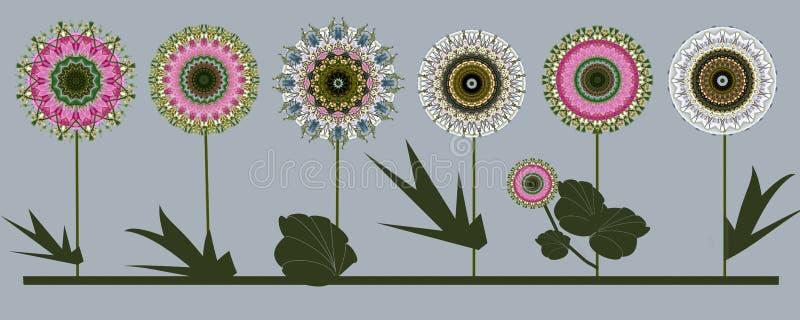 Граница 6 дизайнов искусства цветков цифровых иллюстрация вектора