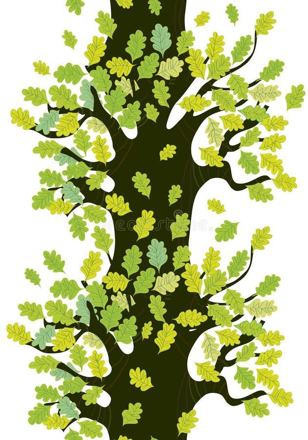 Граница дерева безшовная с дубом выходит милый иллюстрация вектора