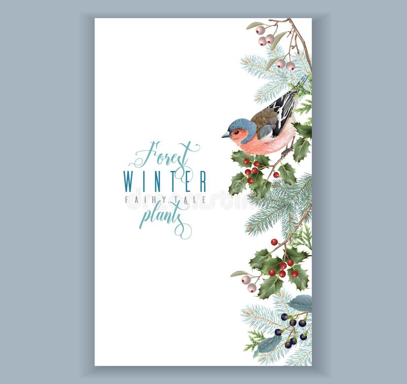 Граница зимы птицы иллюстрация штока