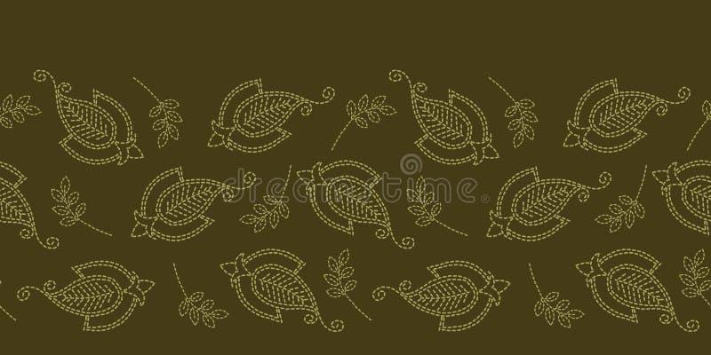 Граница идущим стежком мотива Пейсли флористических лист Картина вектора викторианского needlework безшовная Рука сшила ткань fou иллюстрация штока
