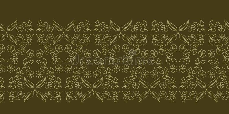 Граница идущим стежком мотива Пейсли флористических лист Картина вектора викторианского needlework безшовная Рука сшила boteh иллюстрация штока