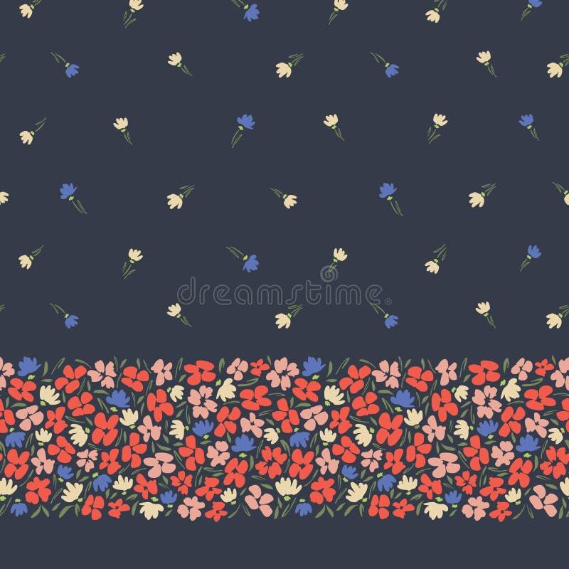 Граница и картина красочного вектора цветков конспекта ditsy gestural безшовная горизонтальная на темной предпосылке Флористическ иллюстрация вектора
