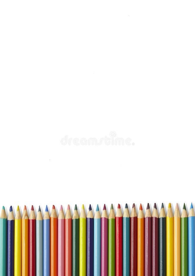 Граница карандаша расцветки - белизна стоковые изображения