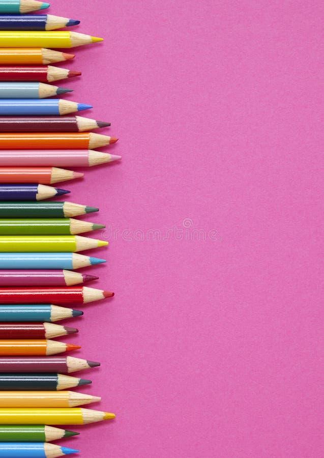 Граница карандаша расцветки - пинк стоковые фотографии rf