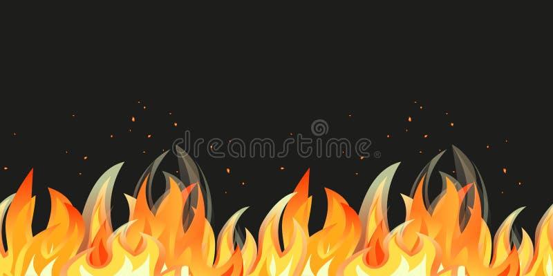 Граница картины пламени безшовная иллюстрация штока