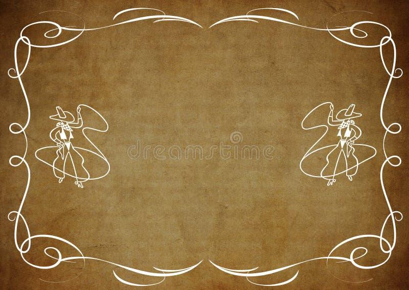 Граница ковбоя на коричневом цвете иллюстрация штока