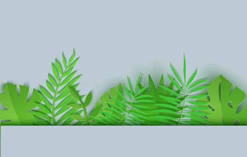 Граница листьев лета тропических в бумажном отрезанном стиле Собрание заводов джунглей ремесла на серой предпосылке Творческий ве иллюстрация вектора