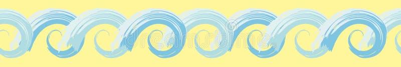 Граница океанской волны руки вычерченная голубая стилизованная с painterly влиянием Безшовная геометрическая картина вектора на с бесплатная иллюстрация