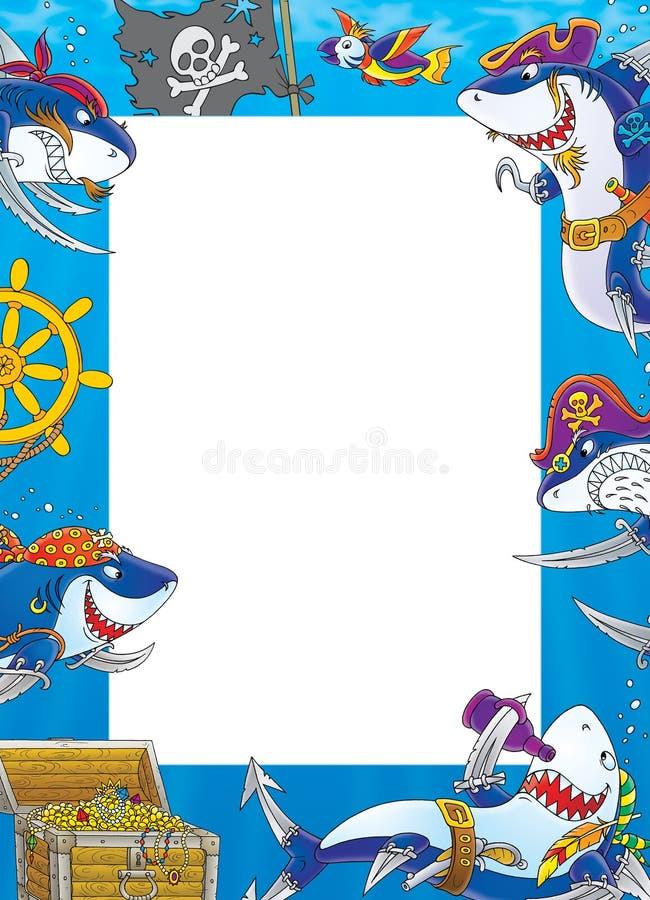 граница пиратствует акул иллюстрация вектора