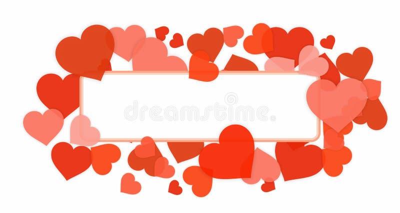 Граница рамки влюбленности и сердец иллюстрация штока
