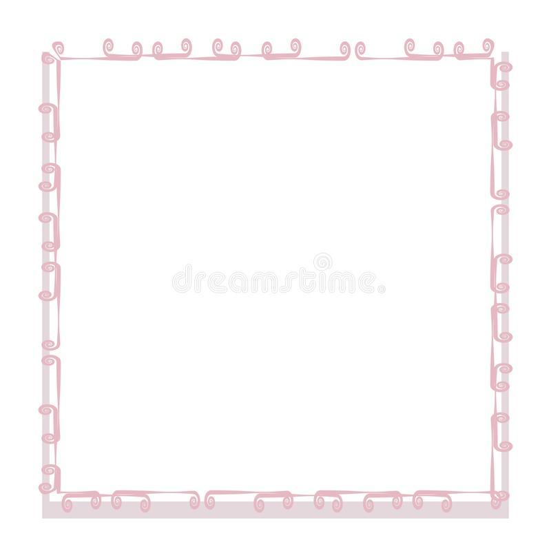 Граница рамки границы тонких розовых скручиваемостей квадратная с вектором объекта тона пинка тени изолированная на белой открытк иллюстрация вектора