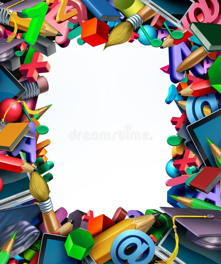 Граница рамки школьных принадлежностей иллюстрация штока