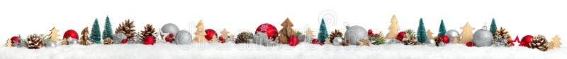 Граница рождества или знамя, дополнительно широкая, белая предпосылка стоковая фотография