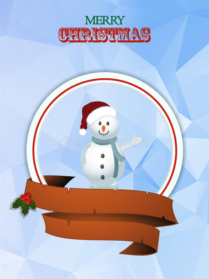 Граница рождества с снеговиком и знаменем иллюстрация вектора