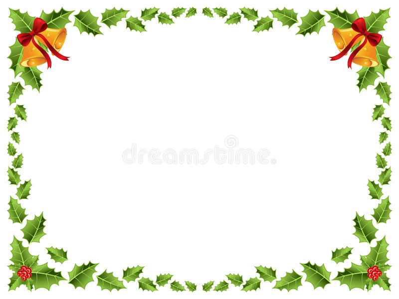 Граница рождества/листья падуба иллюстрация штока