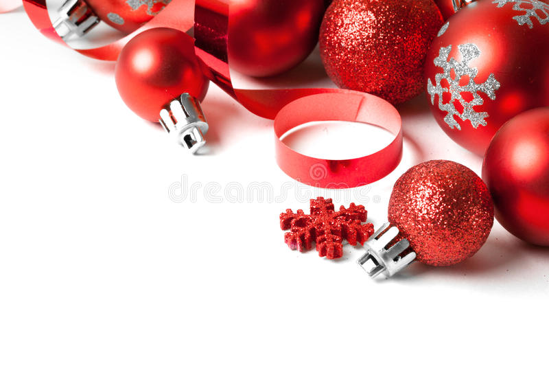 Граница рождества с красным орнаментом стоковые изображения
