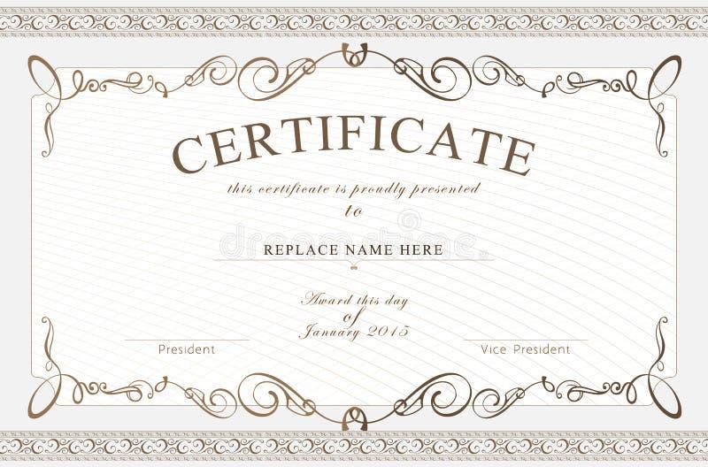 Граница сертификата, шаблон сертификата также вектор иллюстрации притяжки corel иллюстрация вектора