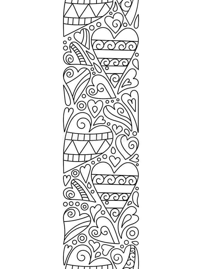 Граница сердец doodle вектора безшовная Элемент Zentangle декоративный Страница книги цвета иллюстрация штока