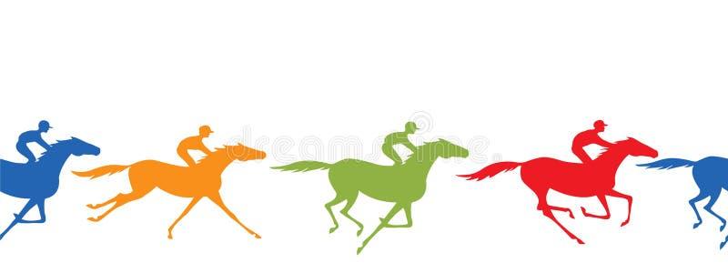 Граница силуэта лошадиных скачек безшовная Лошадь и жокей Скакать всадники спины лошади с желтым, голубым, зеленым, красным цвето иллюстрация вектора