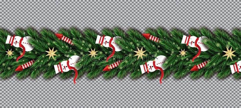 Граница со снеговиком, ветвями рождественской елки, золотыми звездами и r иллюстрация штока