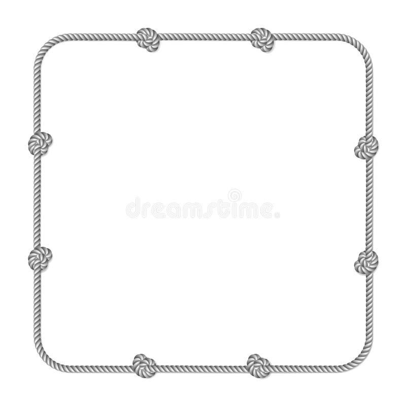 Граница сплетенная веревочкой вектора серой белизны с узлами веревочки, вертикальная рамка вектора иллюстрация штока