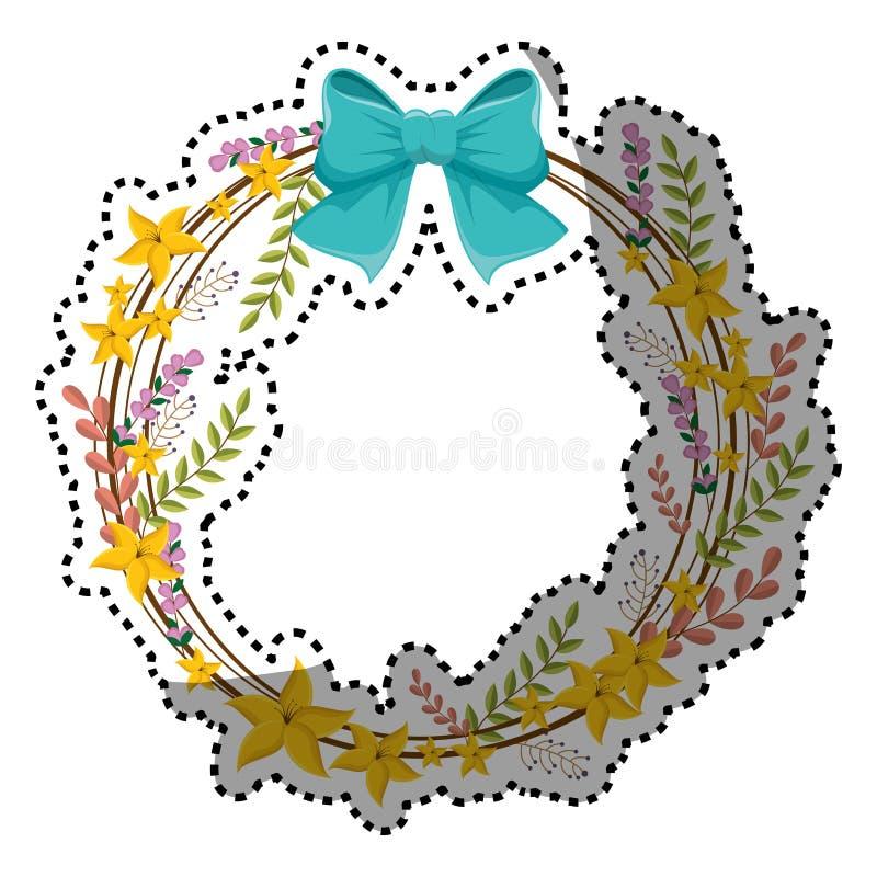 Граница стикера круговая с желтыми цветками и голубой лентой бесплатная иллюстрация