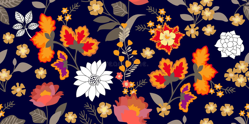Граница стиля народного искусства Безшовный цветочный узор с зацветая цветками и листьями серого цвета бесплатная иллюстрация