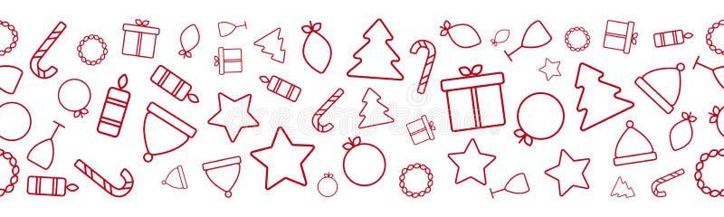 Граница с красными тросточками конфеты, звезда праздника рождества безшовная, свеча, шляпа, подарочная коробка, дерево, венок, ст иллюстрация штока