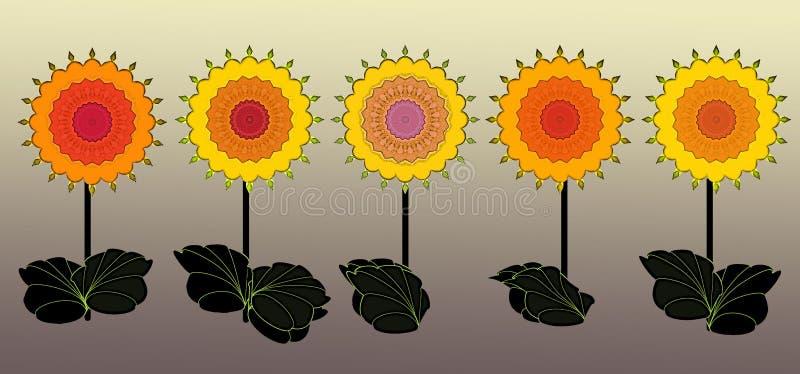 Граница с красочной весной цветет цифровое искусство иллюстрация штока