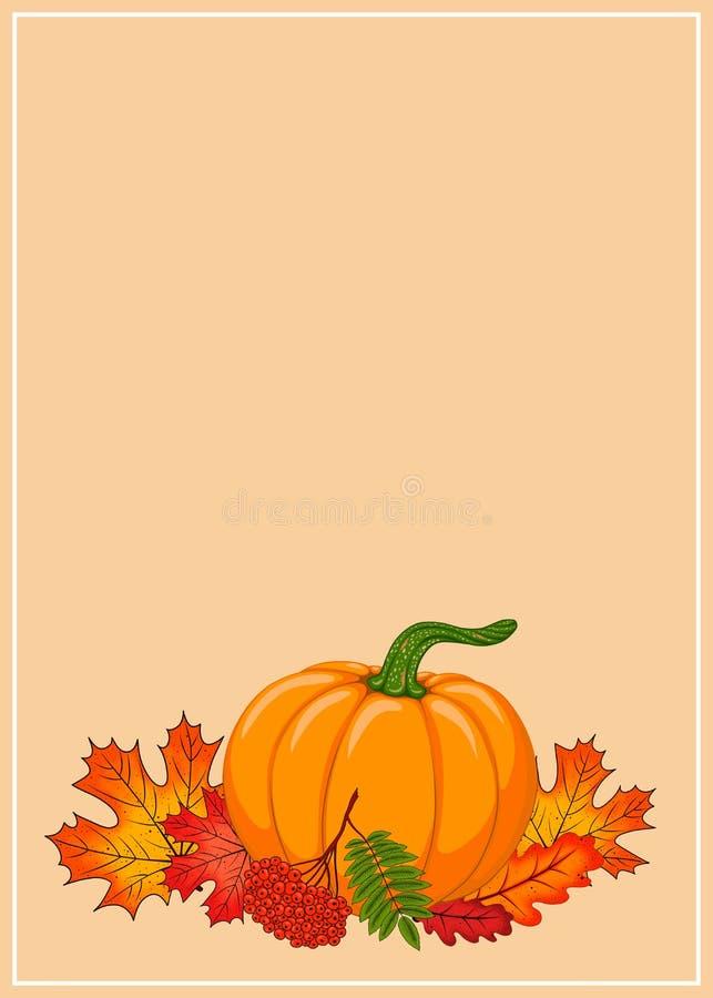 Граница с осенним составом и рамкой для текста Оранжевые, желтые, красные осенние листья и гребеная ветка бесплатная иллюстрация