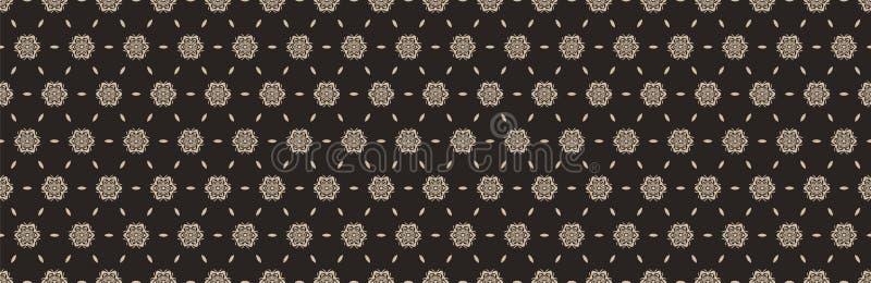 Граница с плотиной, нарисованной вручную, бесшовная Современный японский медальон-мотиф на темном домашнем коричневом Элегантный  иллюстрация вектора