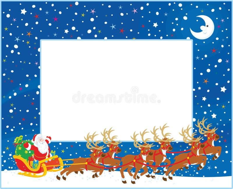 Граница с санями рождества Санта Клауса бесплатная иллюстрация