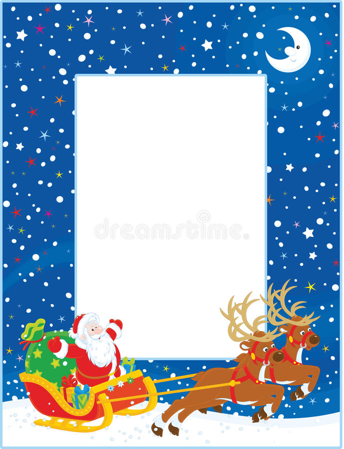 Граница с санями рождества Санта Клауса иллюстрация штока