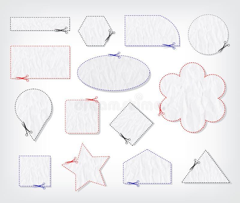 Граница талона с ножницами иллюстрация вектора