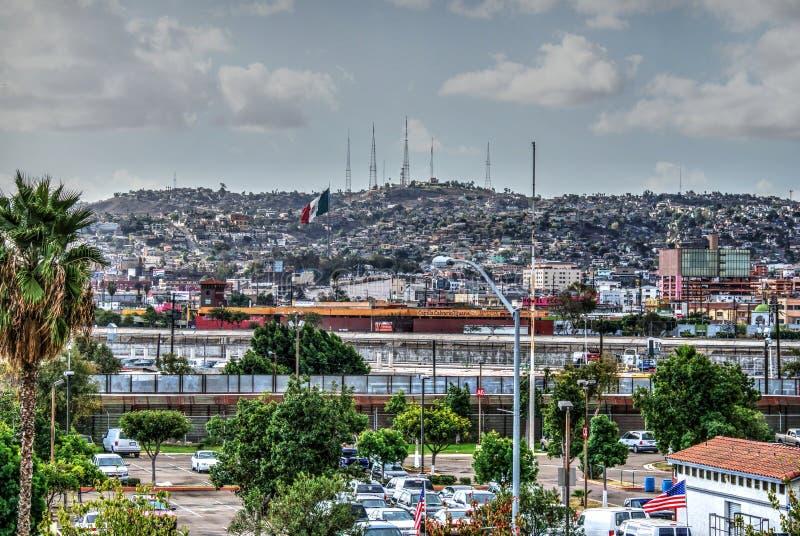 Граница Тихуана, Нас-Мексики стоковые изображения rf