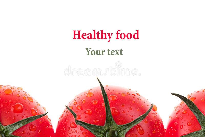 Граница томата на белой предпосылке изолировано Картина томата еда вареников предпосылки много мясо очень Макрос стоковое изображение