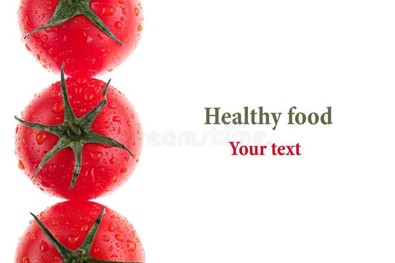 Граница томата на белой предпосылке изолировано Картина томата еда вареников предпосылки много мясо очень Макрос стоковые фотографии rf