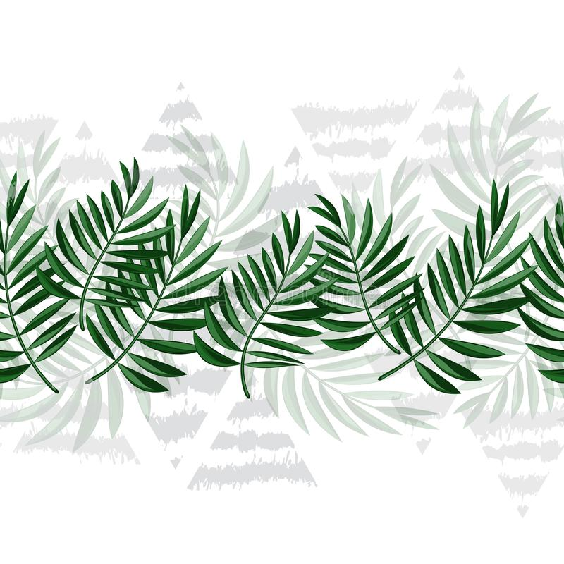 Граница тропических листьев и треугольников делает по образцу безшовное Рамка зеленых листьев и серых треугольников вектор EPS10 иллюстрация вектора