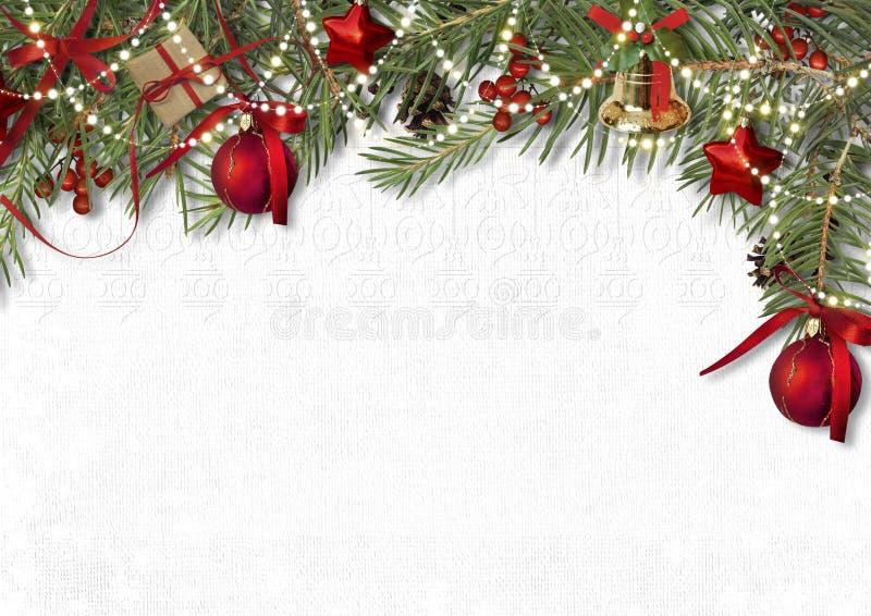 Граница украшения рождества с елью, колоколом и шариком на белизне иллюстрация штока