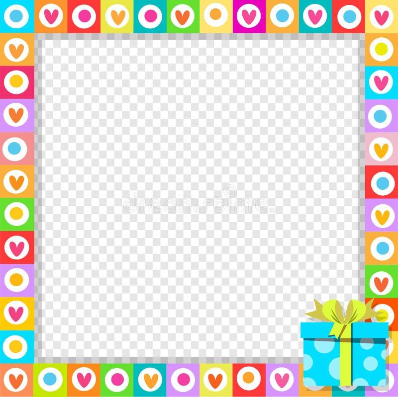 Граница фото сделанная милых сердец с голубой в оболочке подарочной коробкой в угле бесплатная иллюстрация
