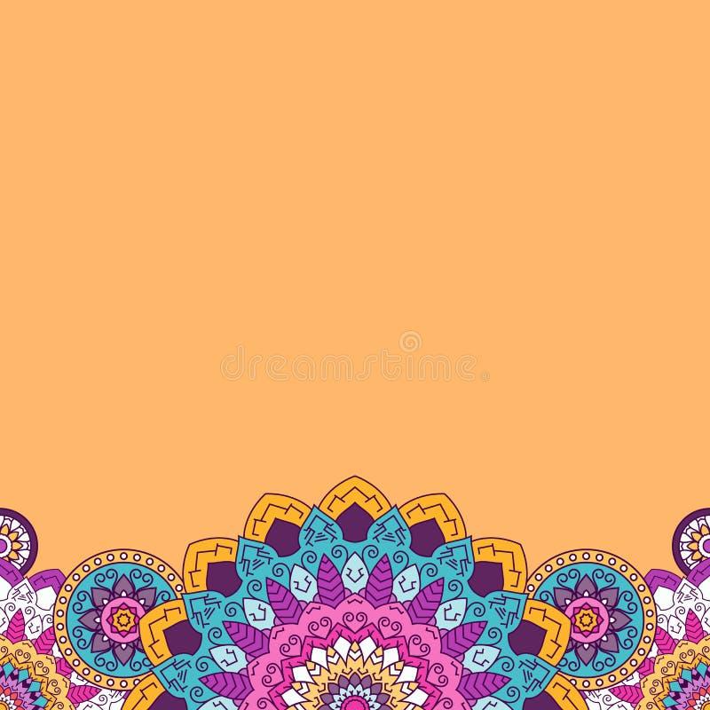 Граница флористической мандалы яркая покрашенная также вектор иллюстрации притяжки corel иллюстрация штока