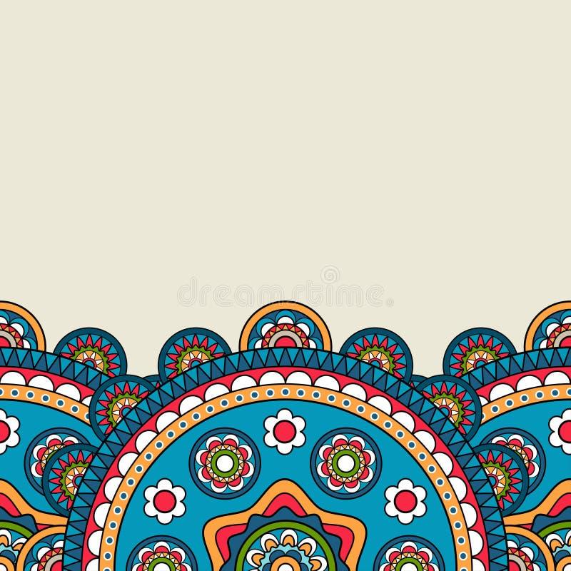 Граница флористической мандалы яркая покрашенная бесплатная иллюстрация