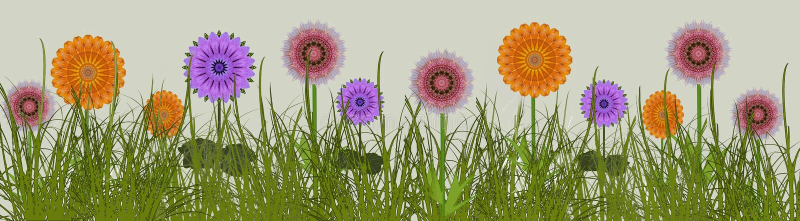 Граница цветков лета в дизайне искусства луга цифровом иллюстрация штока