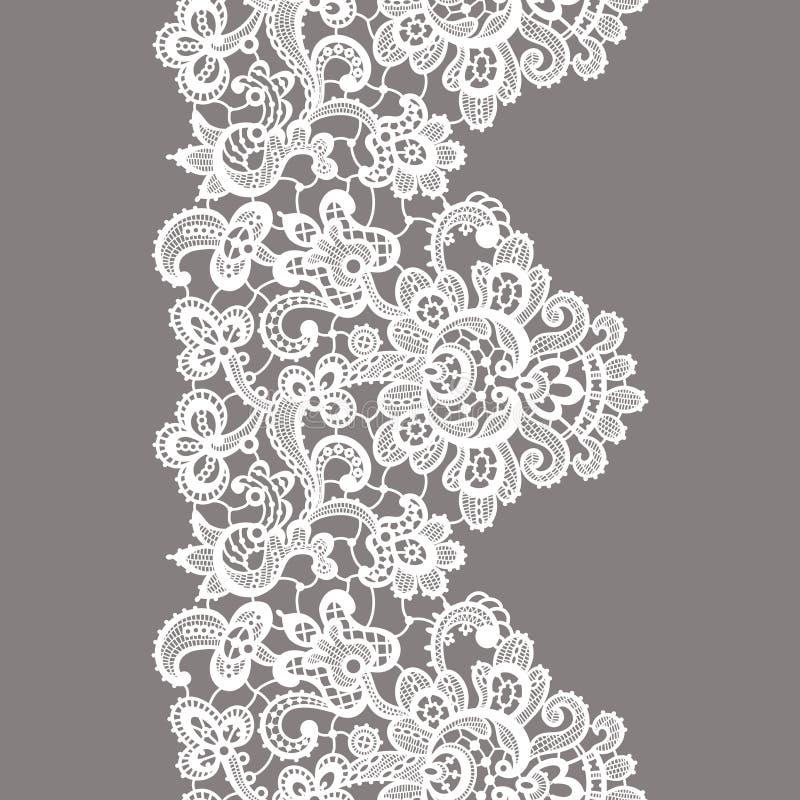 Граница шнурка вектора белая картина безшовная иллюстрация штока