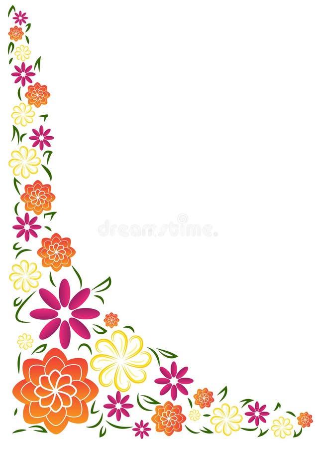 Граница яркого лета флористическая угловая иллюстрация вектора