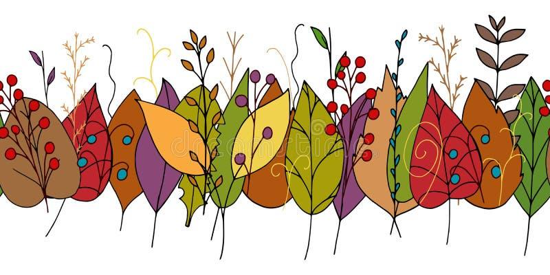 Граница doodle вектора с красочными листьями осени иллюстрация штока