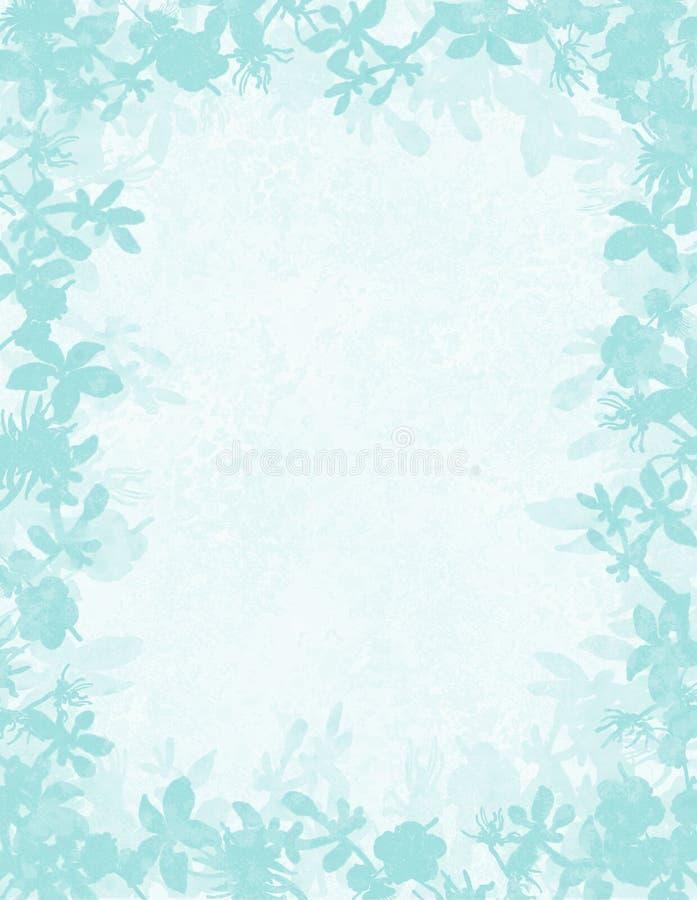 Граница grunge Aqua флористическая бесплатная иллюстрация